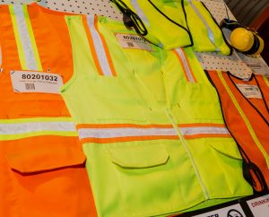 Florescent vests on display.